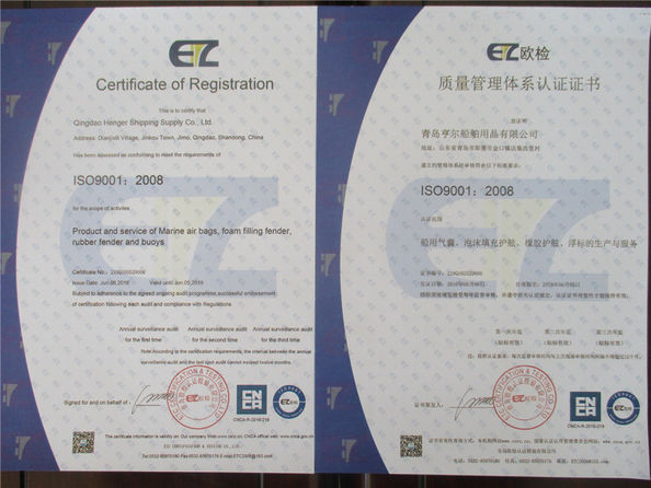 China Qingdao Henger Marine Supply Co., Ltd Certification